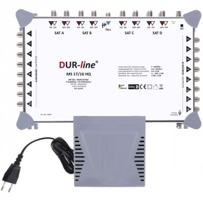 DUR-line MS 17/16 HQ Sat Multischalter 16 Teilnehmer, 4 Satelliten | Digital, HDTV, FullHD, 4K, UHD